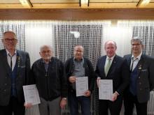Die geehrten Kurt Hornung, Walter Gentner und Wilfried Klenk (v.l.)